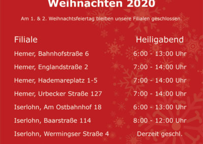 Öffnungszeiten Heiligabend 2021